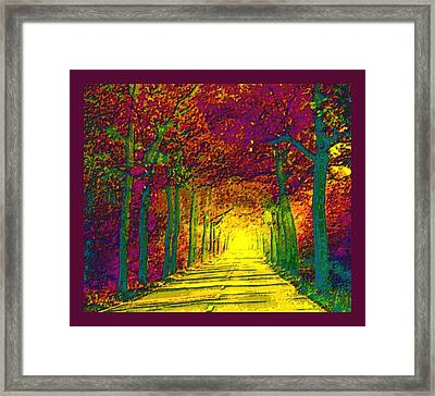 Abstract Decorative Hazy French Autumn Drive With Border Framed Print by L Brown