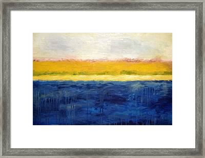 Abstract Dunes With Blue And Gold Framed Print by Michelle Calkins