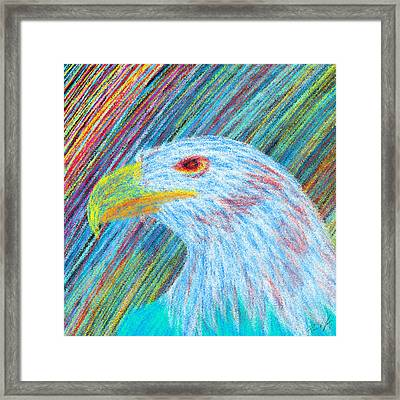 Abstract Eagle With Red Eye Framed Print by Pierre Louis