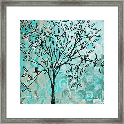 Abstract Floral Birds Landscape Painting Bird Haven II By Megan Duncanson Framed Print by Megan Duncanson