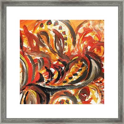 Abstract Khokhloma Floral Design Autumn Leaves Framed Print by Irina Sztukowski