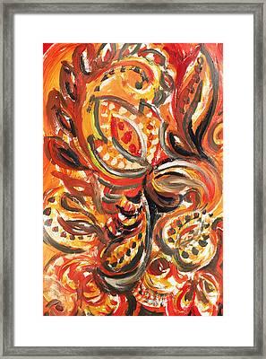 Abstract Floral Khokhloma Warm Twirl Framed Print by Irina Sztukowski