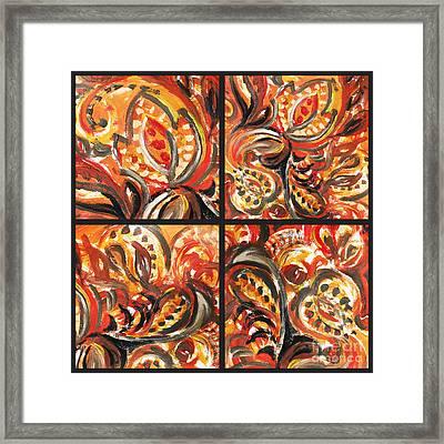 Abstract Floral Khokhloma Quartet Framed Print by Irina Sztukowski