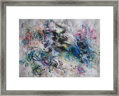 Abstract Flower Field Painting Blue Pink Green Purple Black Landscape Painting Modern Acrylic Pastel Framed Print by Seon-Jeong Kim