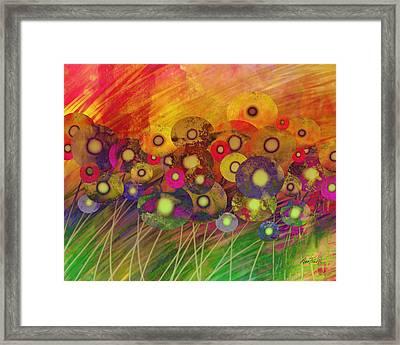 Abstract Flower Garden Fantasy - Abstract Art Framed Print by Ann Powell