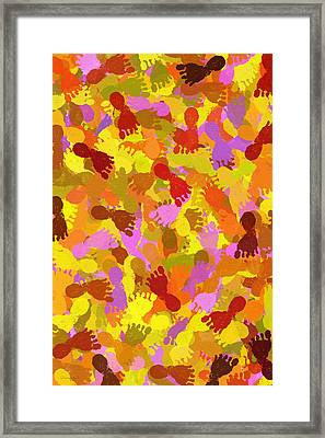 Abstract Footprints On Canvas Framed Print by Christina Rollo