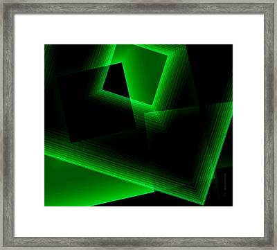 Abstract Geometry Green On Green In Digital Art Framed Print by Mario Perez