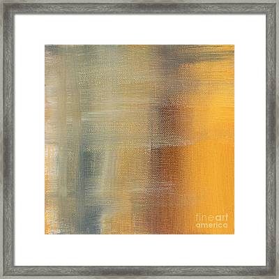 Abstract Golden Yellow Gray Contemporary Trendy Painting Fluid Gold Abstract I By Madart Studios Framed Print by Megan Duncanson
