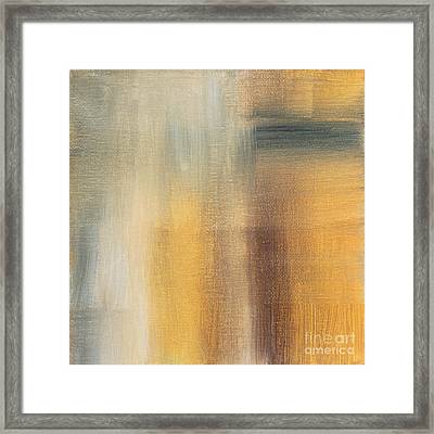 Abstract Golden Yellow Gray Contemporary Trendy Painting Fluid Gold Abstract II By Madart Studios Framed Print by Megan Duncanson