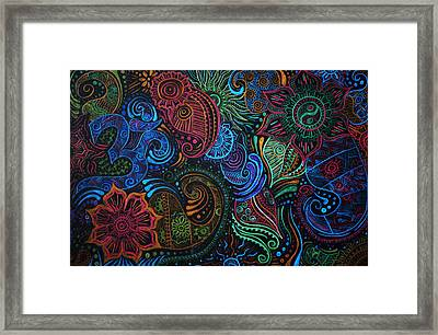 Abstract Henna Design Framed Print by Cathryn Jenner