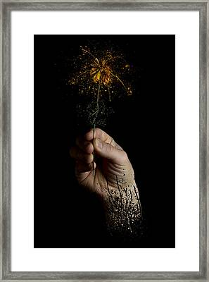 Abstract Human Hand Flower Fluid Dripping Framed Print by Andy Gimino