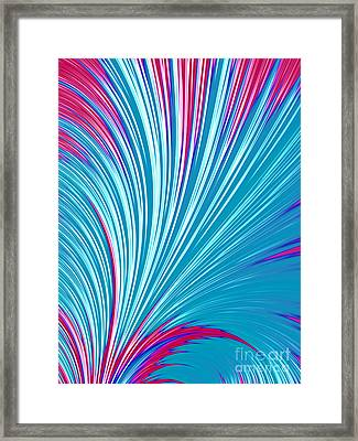 Abstract In Blue And Red Framed Print by John Edwards