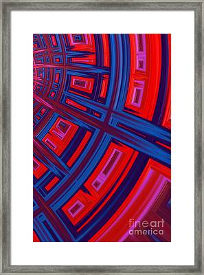 Abstract In Red And Blue Framed Print by John Edwards