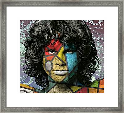 Abstract Jim Morrison Framed Print by Ally  White