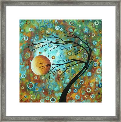 Abstract Landscape Circles Art Colorful Oversized Original Painting Pin Wheels In The Sky By Madart Framed Print by Megan Duncanson