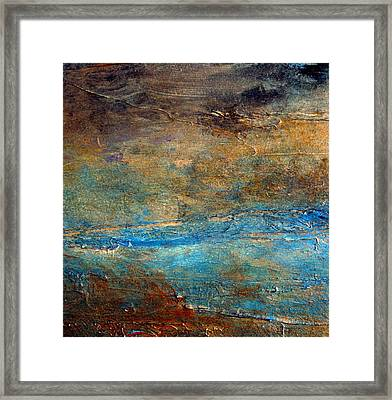 Rustic Abstract Landscape Painting Framed Print by Holly Anderson