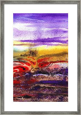 Abstract Landscape Purple Sunrise Earthy Swirl Framed Print by Irina Sztukowski