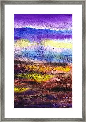 Abstract Landscape Purple Sunrise Yellow Fog Framed Print by Irina Sztukowski
