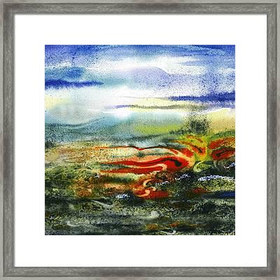 Abstract Landscape Red River Framed Print by Irina Sztukowski