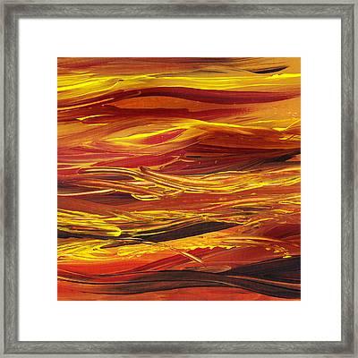 Abstract Landscape Yellow Hills Framed Print by Irina Sztukowski