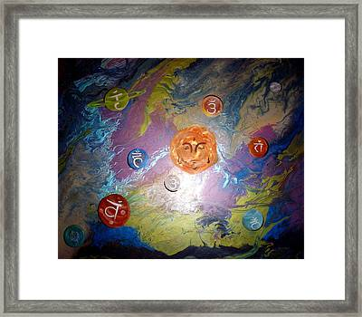 Abstract Large Original Chakra Art Painting 4ftx5ft Framed Print by Holly Anderson and Pato Aguilar