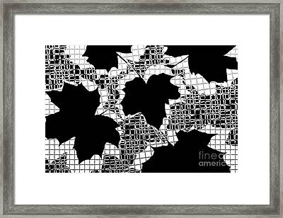 Abstract Leaf Pattern - Black White Grey Framed Print by Natalie Kinnear