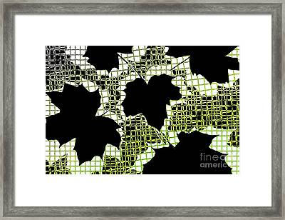 Abstract Leaf Pattern - Black White Lime Green Framed Print by Natalie Kinnear