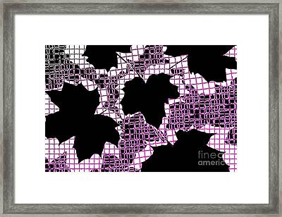 Abstract Leaf Pattern - Black White Pink Framed Print by Natalie Kinnear