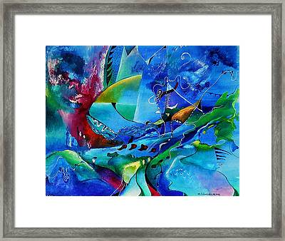 Abstract Mindscape No.5-improvisation Piano And Trumpet Framed Print by Wolfgang Schweizer