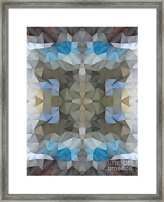 Abstract Mosaic In Cool Silver Blue Brown Framed Print by Beverly Claire Kaiya