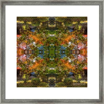 Abstract Mosaic In Green Blue Orange Framed Print by Beverly Claire Kaiya