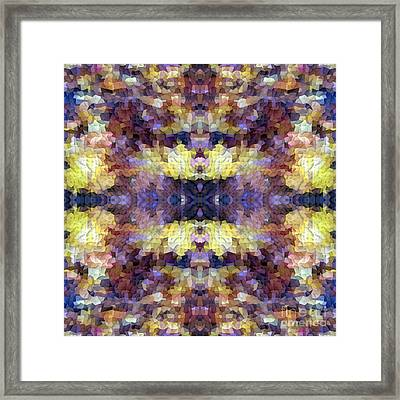 Abstract Mosaic In Yellow Blue Purple Framed Print by Beverly Claire Kaiya