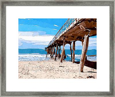 Abstract Ocean Pier Framed Print by Phil Perkins