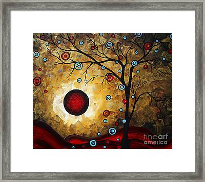 Abstract Original Gold Textured Painting Frosted Gold By Madart Framed Print by Megan Duncanson