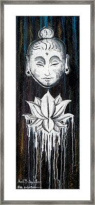 abstract painting large vertical original Buddha with Lotus Flower Chakra Art EMERGE Framed Print by Chakra Art