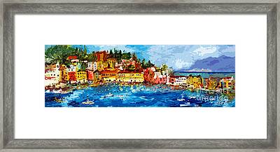 Abstract Panoramic Italian Seascape Sestri Levante Liguria Framed Print by Ginette Callaway