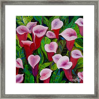 Abstract Pink Calla Lily Framed Print by Caroline Street