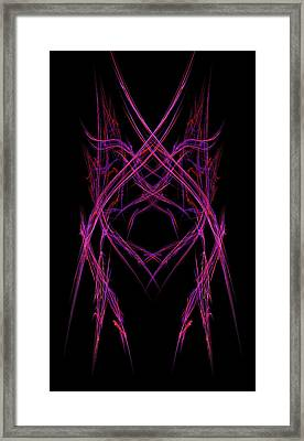 Abstract Purple Alien Face On Black Background Framed Print by Keith Webber Jr