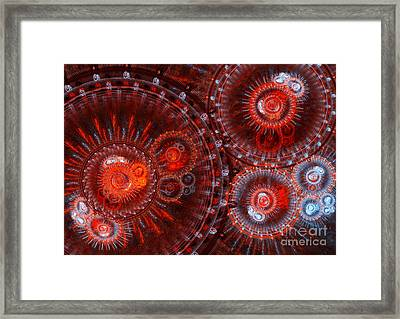 Abstract Red Circle Fractal  Framed Print by Martin Capek