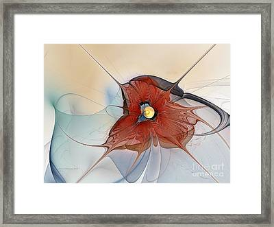 Abstract Red Flower Framed Print by Karin Kuhlmann