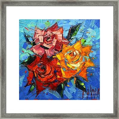 Abstract Roses On Blue Framed Print by Mona Edulesco