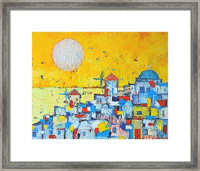 Abstract Santorini - Oia Before Sunset Framed Print by Ana Maria Edulescu