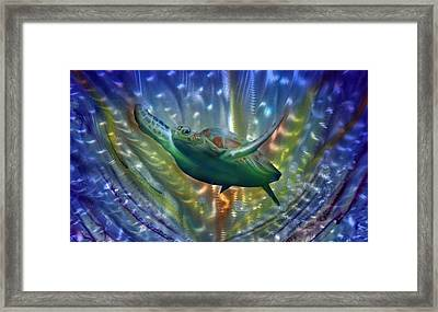 Abstract Sea Turtle 2 Framed Print by Luis  Navarro
