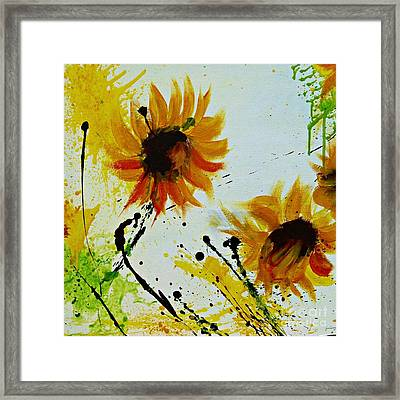 Abstract Sunflowers 2 Framed Print by Ismeta Gruenwald