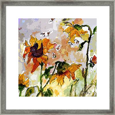 Abstract Sunflowers And Bees Provence Framed Print by Ginette Callaway