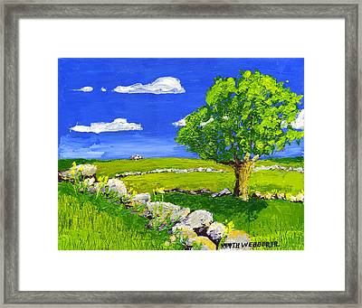 Abstract Tree In Maine Blueberry Field Painting. Framed Print by Keith Webber Jr