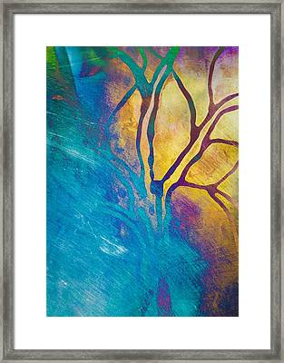 Fire And Ice Abstract Tree Art  Framed Print by Priya Ghose