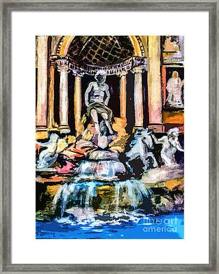 Abstract Trevi Fountain Rome Italy Framed Print by Ginette Callaway