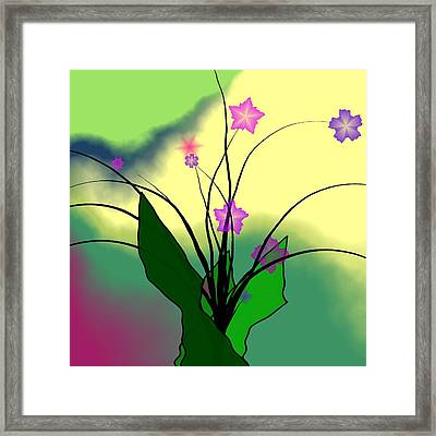 Abstract Violets Framed Print by GuoJun Pan