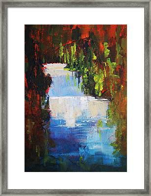 Abstract Waterfall Painting Framed Print by Nancy Merkle